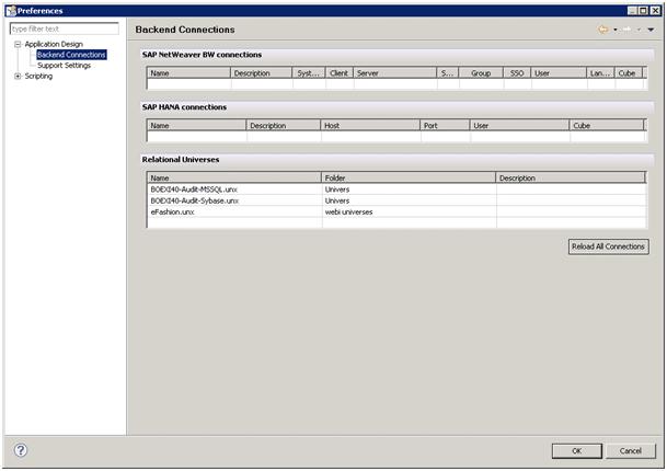 Connexions disponibles SAP Design Studio