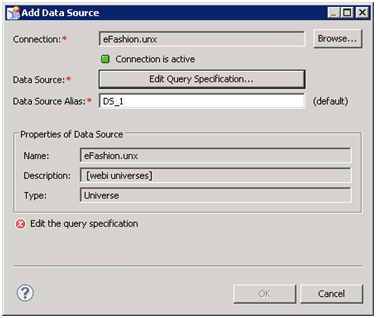 Définition d'une requête avec SAP Design Studio
