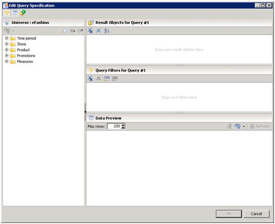 Panneau requête de SAP Design Studio