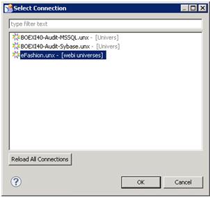 Sélection d'une source de données avec Design Studio