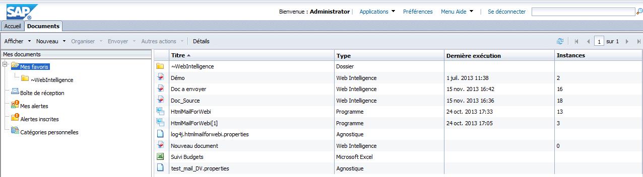 Importe fichier BI Launchpad