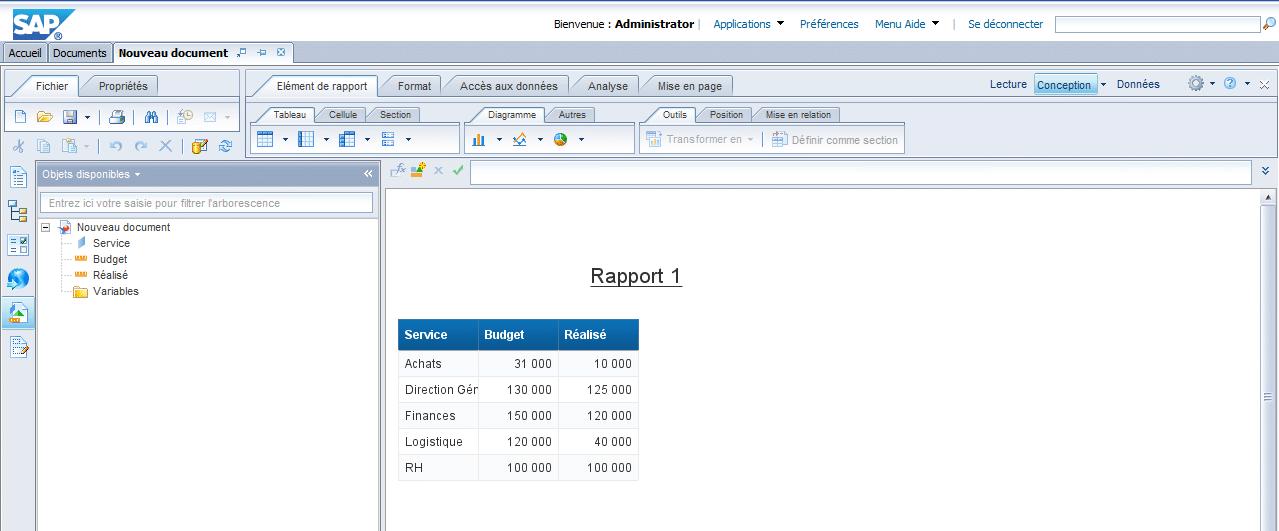 Résultat Webi Excel