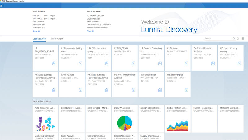 Interface Lumira Discovery