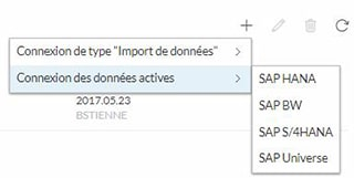 Connexion donnees actives sur SAP Analytics Cloud