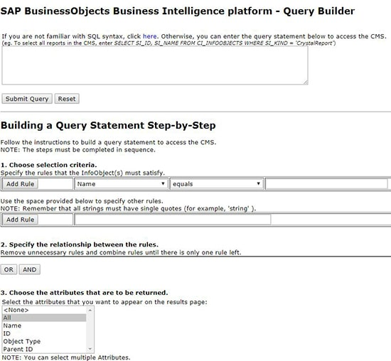 Query Builder SAP