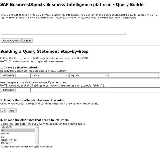 Query Builder SAP