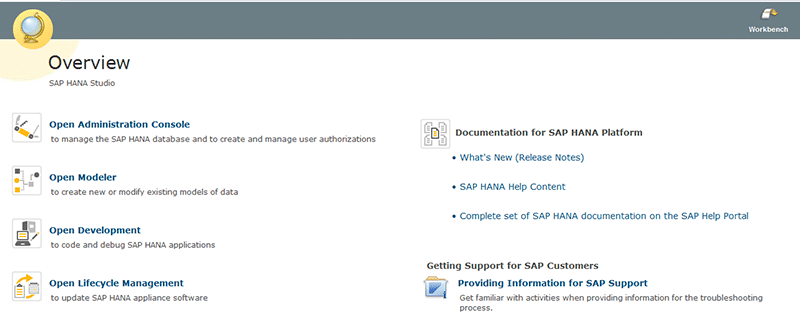 Overview SAP HANA Studio