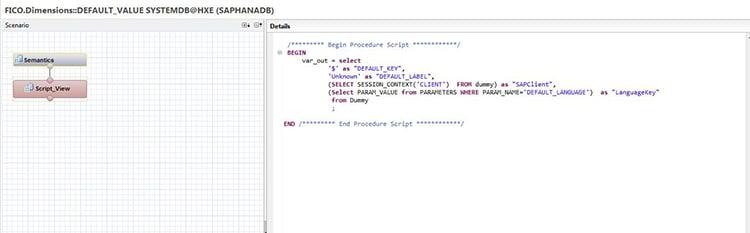 Script d'une vue de calcul SAP HANA