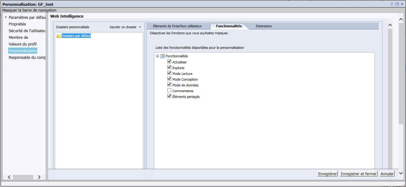 Objets de personnalisation avec SAP BI 4.2 SP6