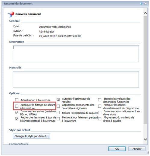 Sécurité à l'ouverture d'un document en SP6