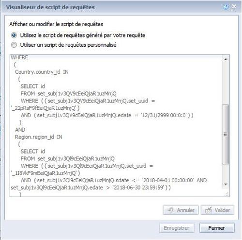 SQL généré par les BI Sets