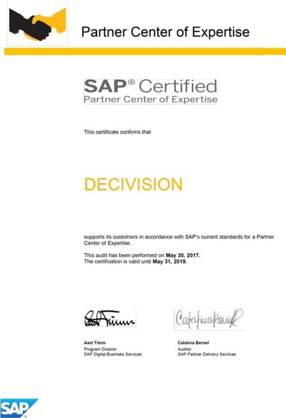 Certificat Partner Center of Expertise