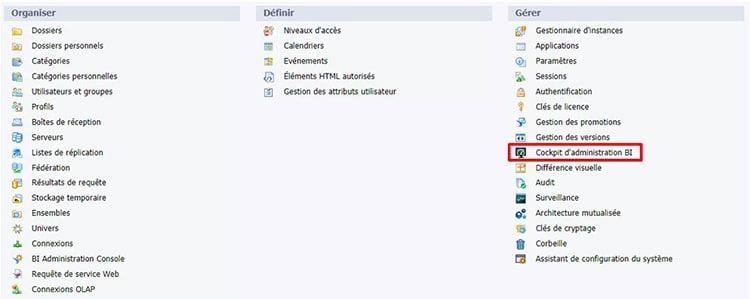 Accès au cockpit d'administration SAP BI 4.2