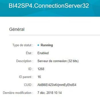 Détails des informations du serveur BI 4.2