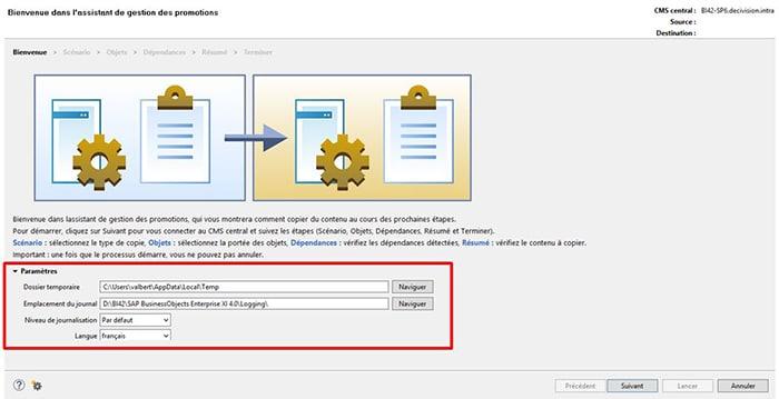 Interface de l'assistant de gestion des promotions