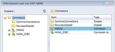 Connexion Olap HANA