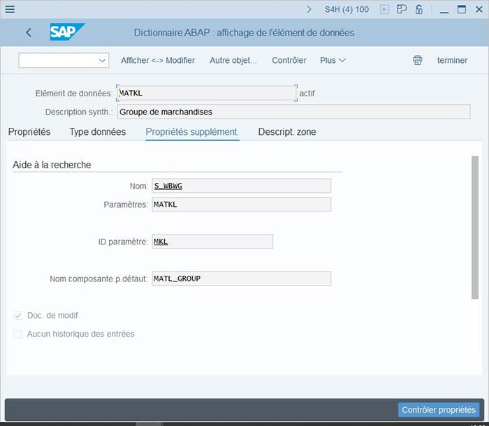 Activation de l'option Doc de Modif dans les propriétés SAP BW