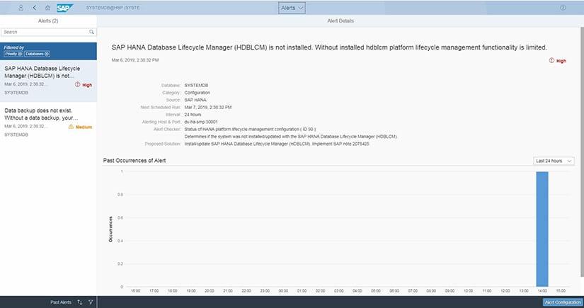 Alertes SAP HANA Cockpit 2.0