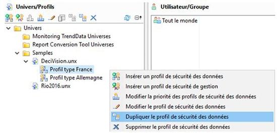 Duplication du profil de sécurité SAP BI 4.2 SP7