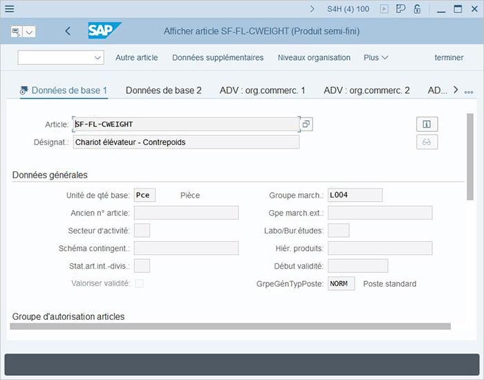 Modification d'un article dans le groupe de marchandises sur SAP BW