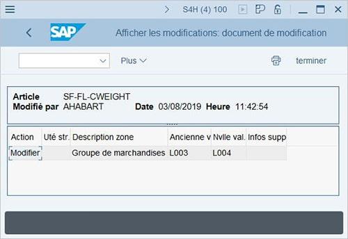 Sauvegarde des modifications dans SAP BW