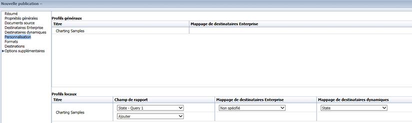 Ecran de personnalisation BusinessObjects