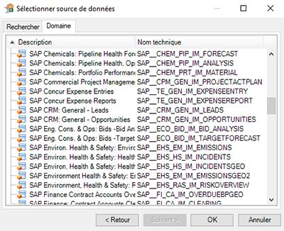 Sélection de la source de données