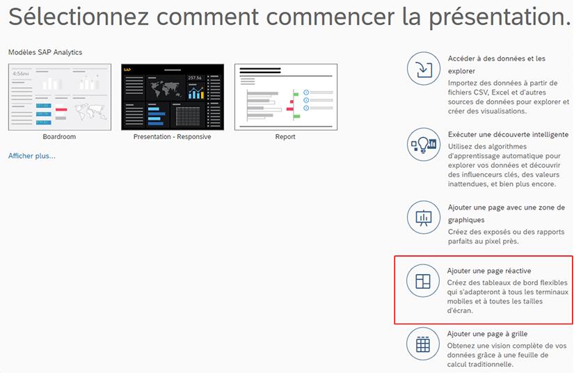 Création de présentation responsive sur SAP Analytics Cloud