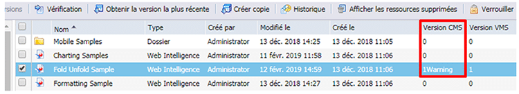 Vérification de la version BusinessObjects