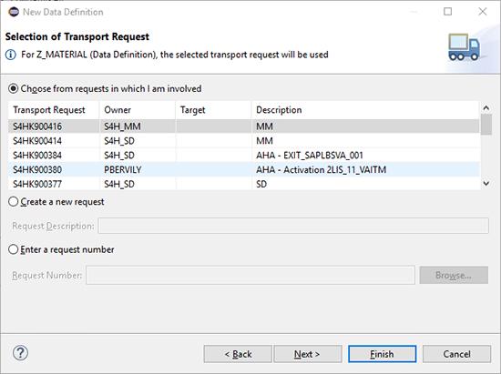 Choix du transport SAP