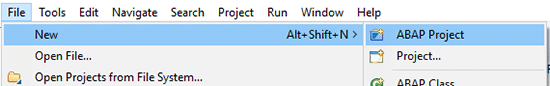 Création d'un projet ABAP
