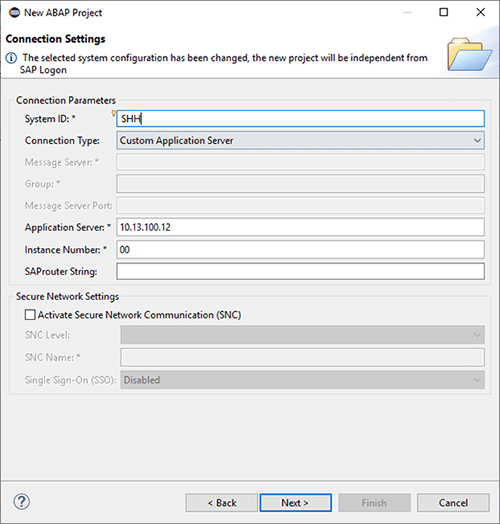 Détails de la création d'un projet ABAP