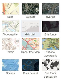 Couches de base sur la cartographie SAC