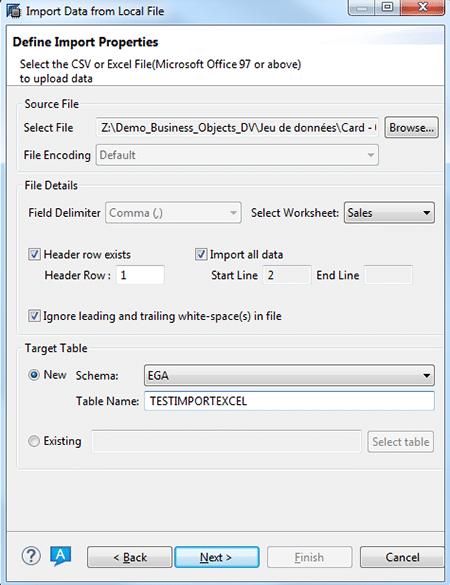 Deuxième étape intégration de fichiers plats sur SAP HANA