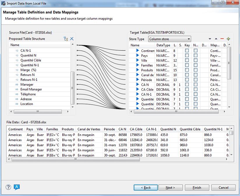Troisième étape intégration de fichiers plats sur SAP HANA