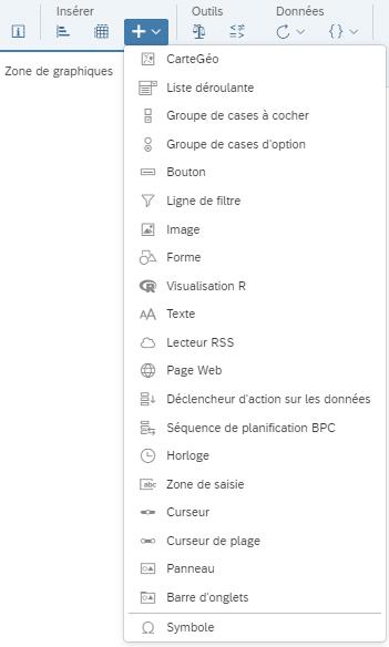 Liste avancée des visualisations disponibles dans SAP Application Design