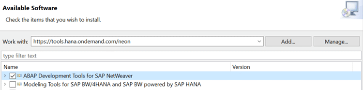 Etape 1 de l'installation de l'add-on ABAP HANA Studio