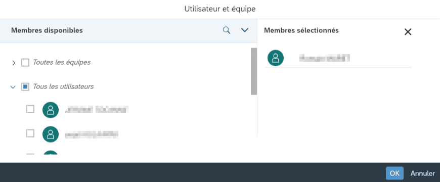 Utilisateurs et équipes SAP Analytics Cloud