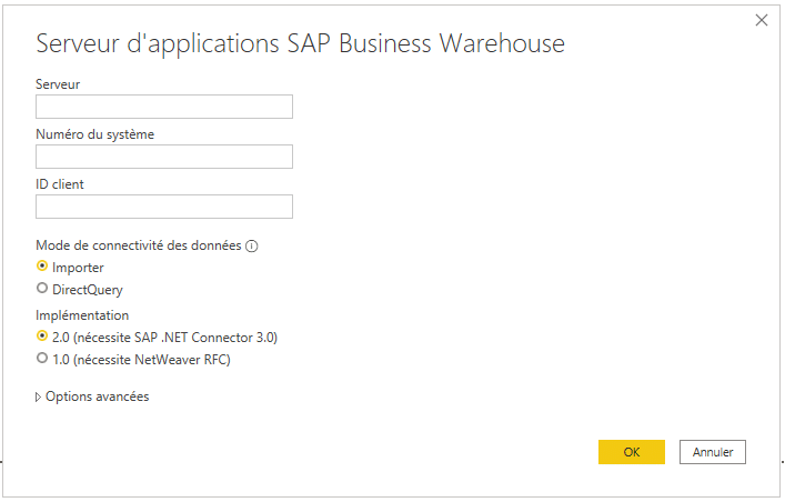 Accès au contenu SAP BW