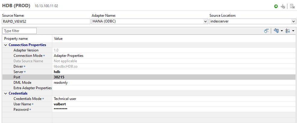 Détails de la création source de données distante avec l'interface utilisateur