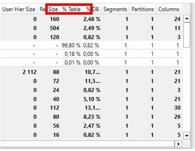 Excel Vertipaq Analyser details des metadonnees