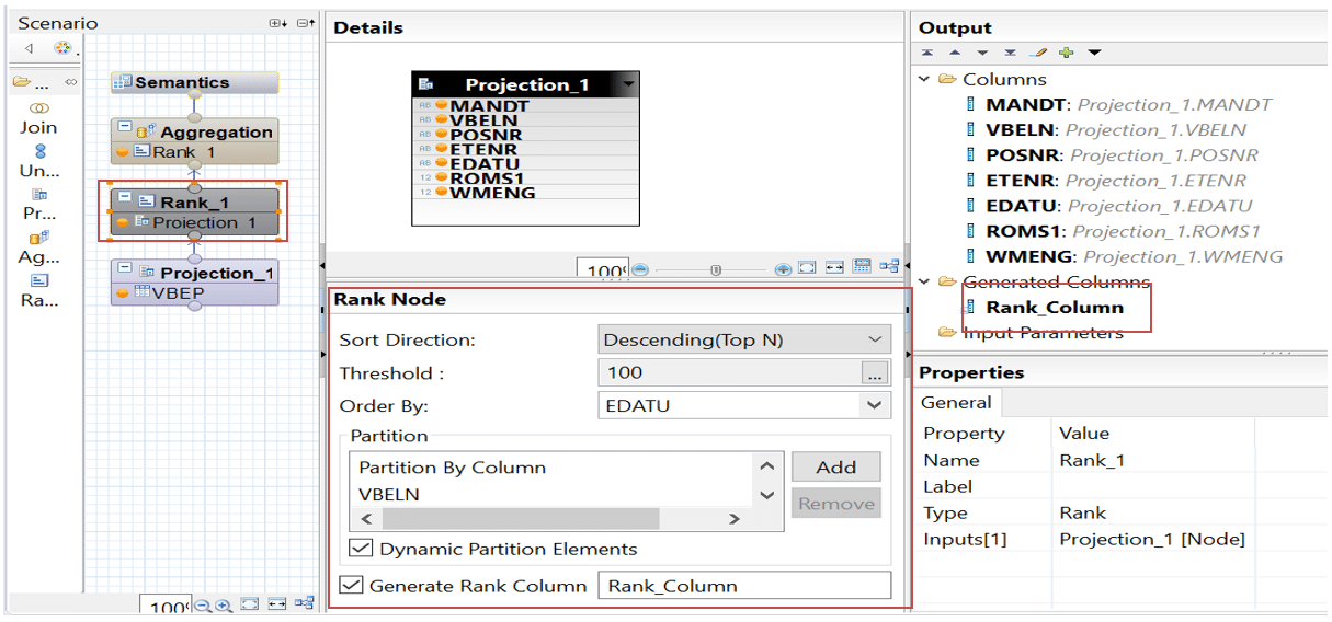 Options opération rank Calculation View