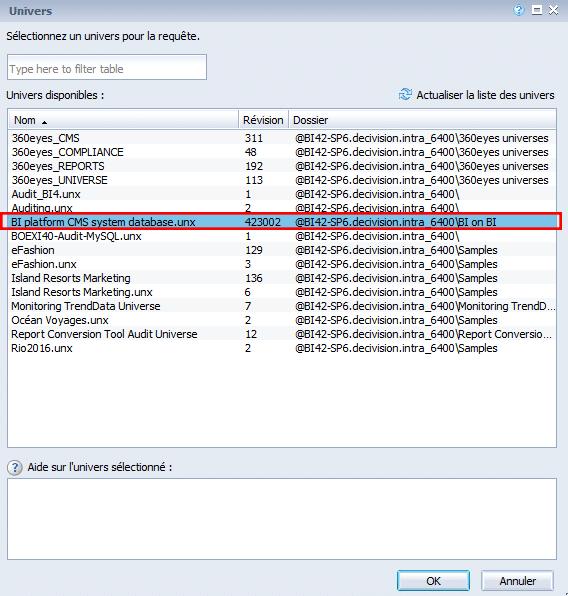 Univers BI platform CMS system database