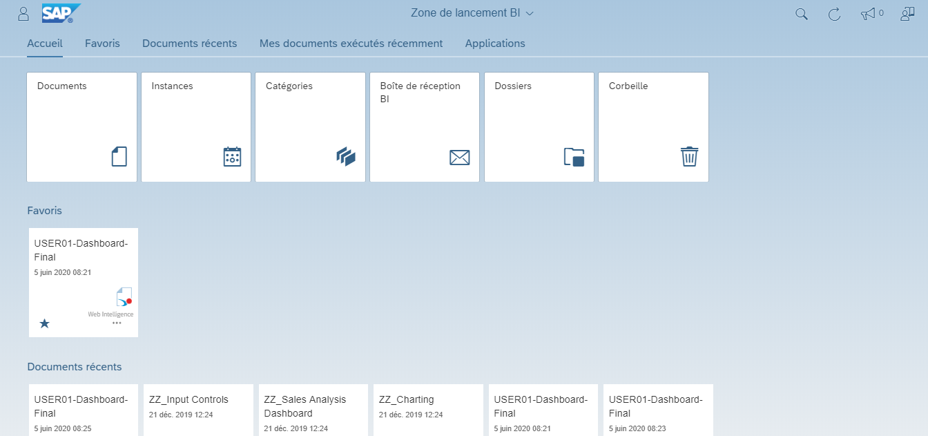 Interface FIORI SAP BI 4.3
