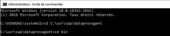 Configuration en ligne de commande du data provisioning agent