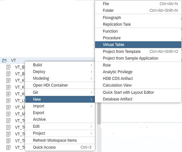 Création d'une table virtuelle sur l'IDE HANA Cloud