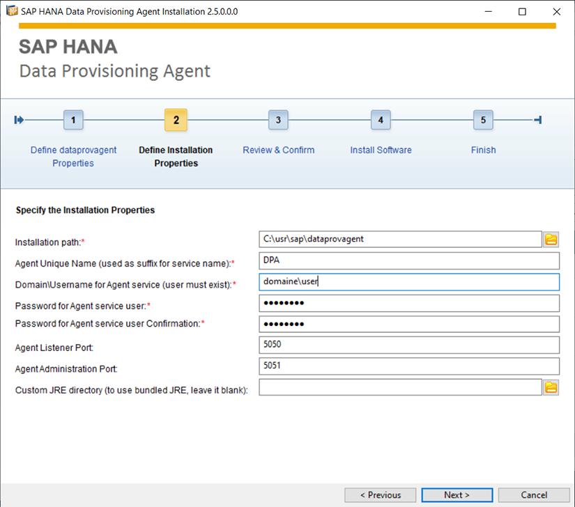 Etape 2 de l'installation de Data Provisioning Agent