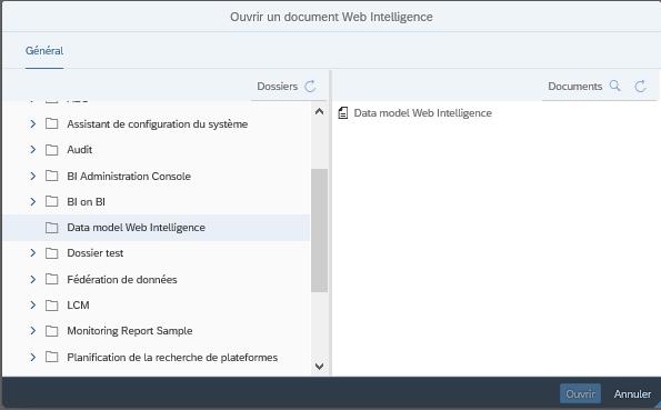 Sélection du data model Web Intelligence BI 4.3