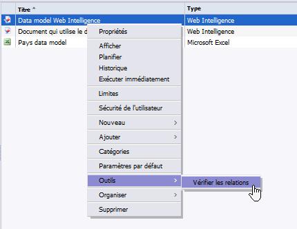 Vérification des relations du data model