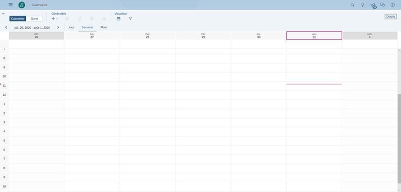 Affichage du calendrier SAP Analytics Cloud